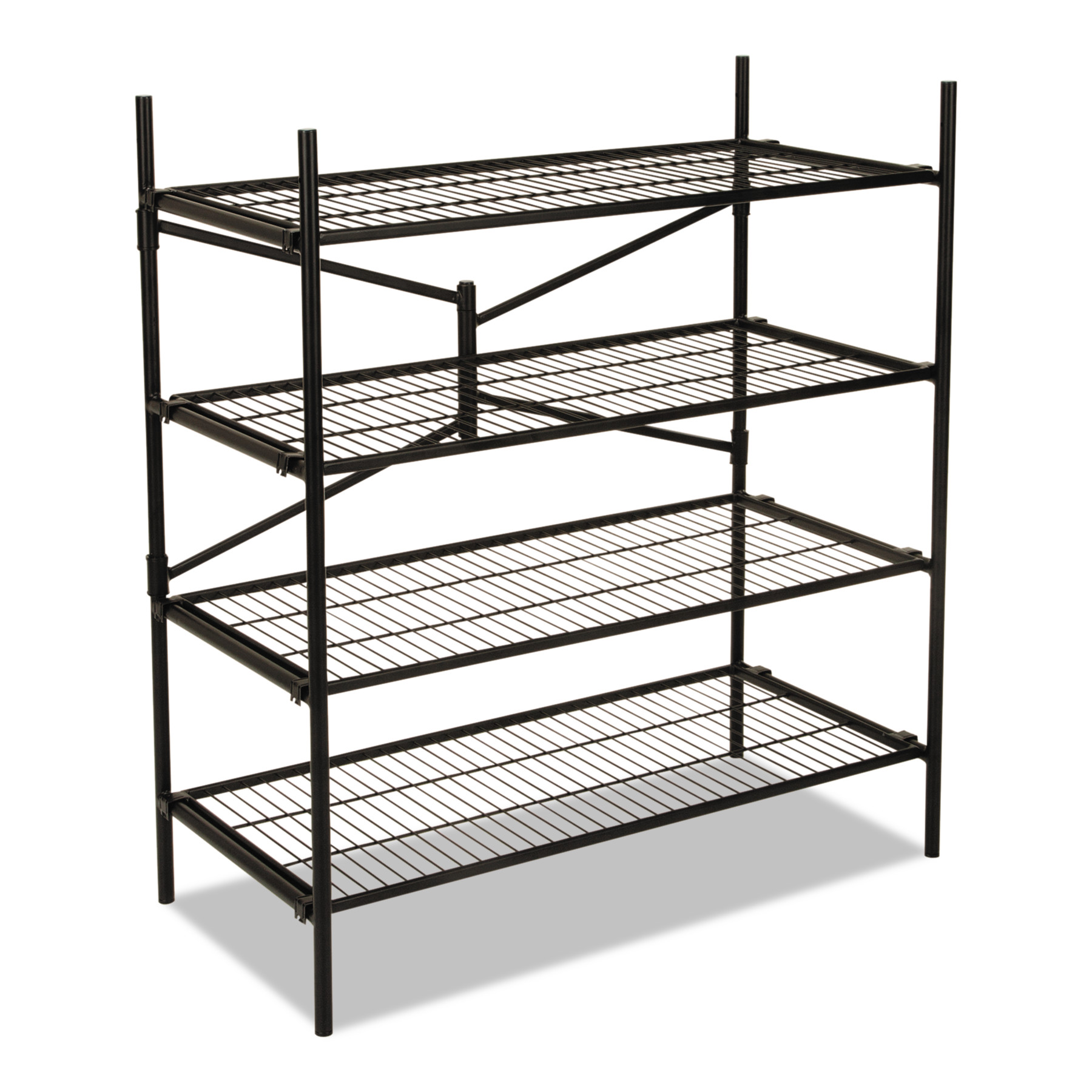 Cosco Instant Storage Shelving Unit, 4 Shelves, 42 3/4 x 20 3/4 x 47 3/4, Black