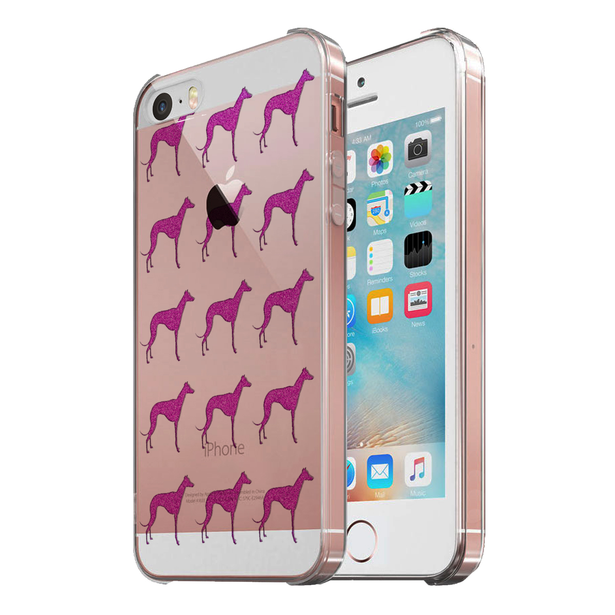 KuzmarK Clear Cover Case fits iPhone SE & iPhone 5 - Greyhound Pink