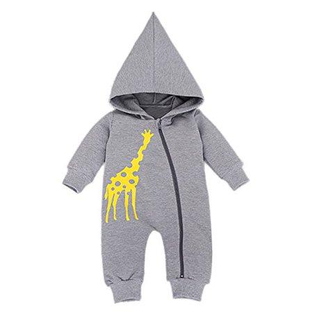 StylesILove Yellow Giraffe Animal Hooded Coverall Baby Romper (6-12 Months, Grey) - Next Giraffe Dress