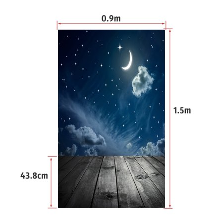 Andoer 1.5 * 0.9m/4.9 * 3.0ft Backdrop Photography Background Twinkle Moon Star Wood Floor Picture for DSLR Camera Children Newborn Wedding Photo Studio (Best Dslr For Star Photography)