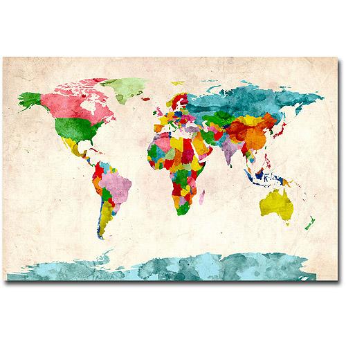 """Trademark Art """"Watercolor World Map"""" Canvas Art by Michael Tompsett"""