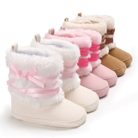 Newborn Toddler Kid Baby Girl Boy Snow Shoes Winter Soft Sole Prewalker Crib Boots