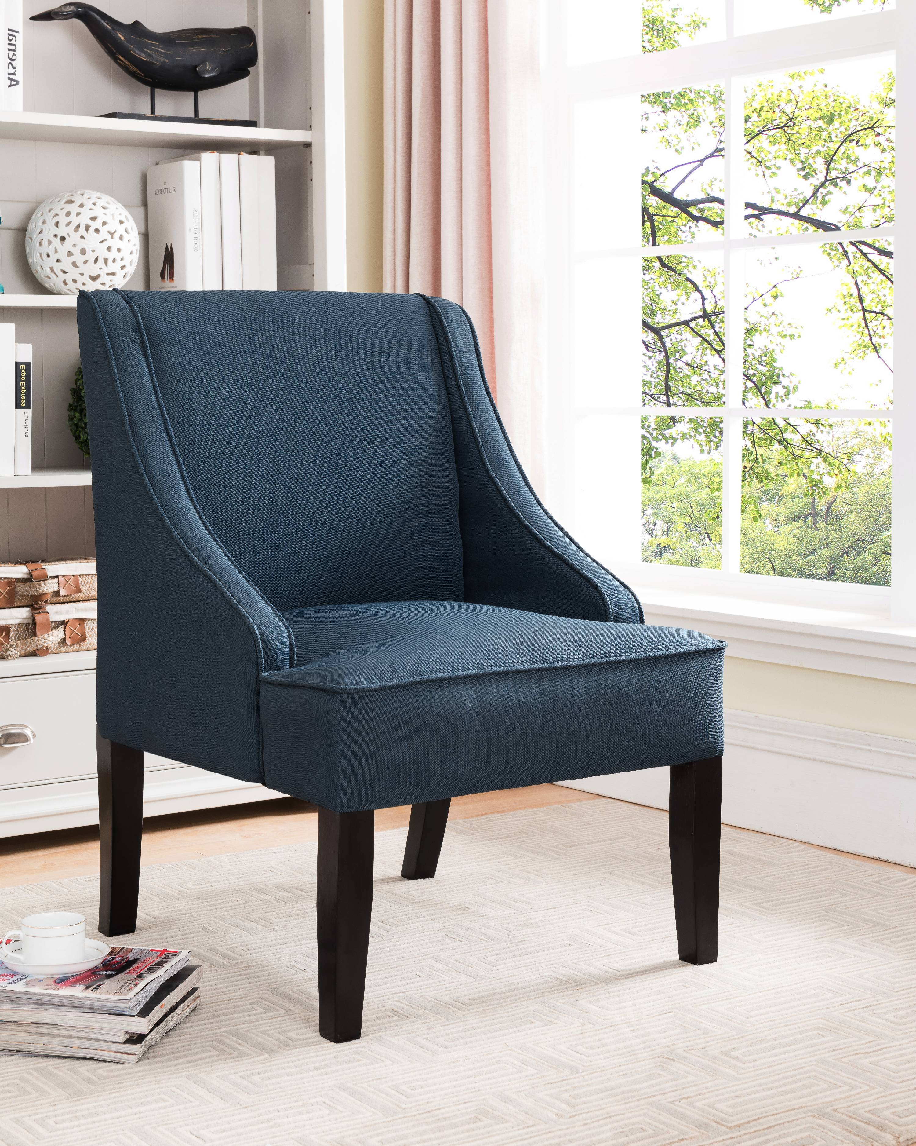 Noelle Dark Blue U0026 Black Upholstered Fabric Oversized Accent Chair With  Wood Frame U0026 Legs
