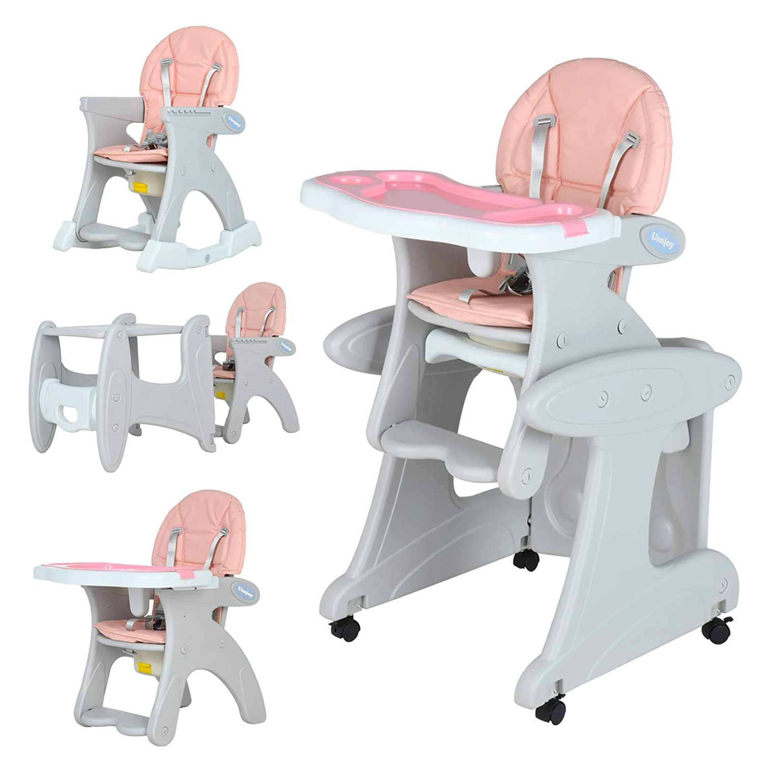 Pink Cushion Baby Floor Chair for Kids Toddler Dining Base 2-in-1 Seat with Straps Baby Booster Feeding Seat with Detachable Tray