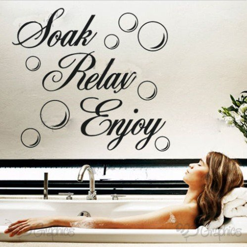 Soak Relax Enjoy PVC Wall Sticker Decal Home bathroom Background Decor Removable (1, WHITE)