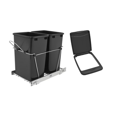 Rev A Shelf Double 35 Quart Sliding Pull Out Waste Bin & Flip Top Waste Bin Lid