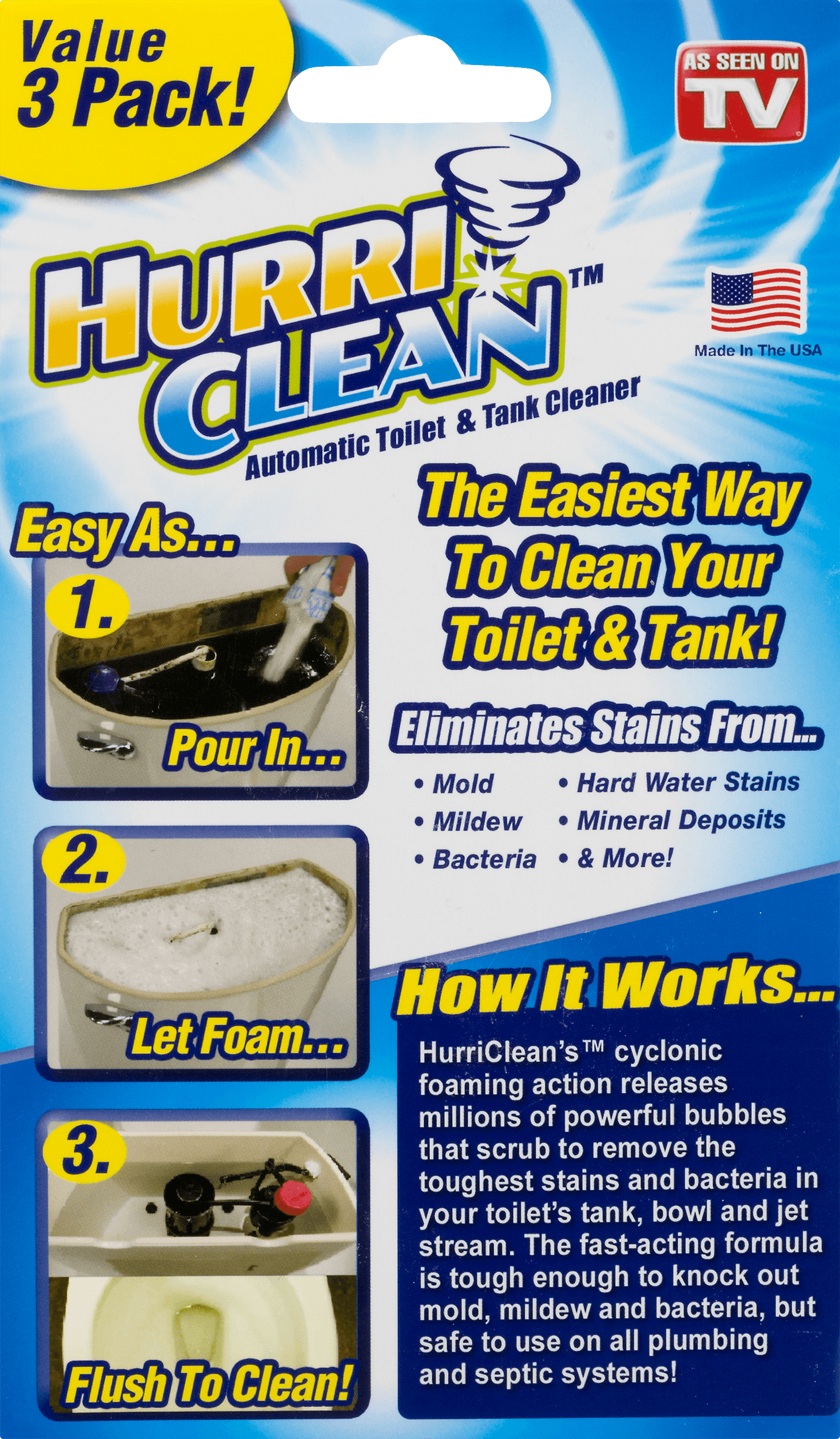 Hurri Clean Automatic Toilet Tank Cleaner 3 Pk 3 0 Pack