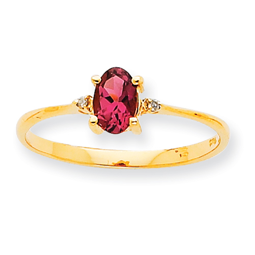 10k Yellow Gold Polished Geniune Diamond & Pink Tourmaline Birthstone Ring 10XBR211 Size 6 by