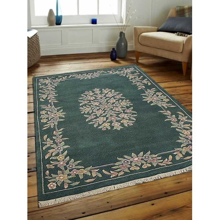 - Rugsotic Carpets Hand Knotted Persian Wool 4'x6' Area Rug Oriental Abushan Green PR0003