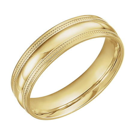 Coin Edge Design (Jewels By Lux 14K Yellow Gold 6mm Coin Edge Design Wedding Ring Band Size 10)