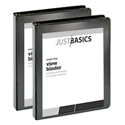 "Just Basics Economy Round-Ring View Binders, 1"" Rings, 61% Recycled, Black, Pack Of 2 Binders by"
