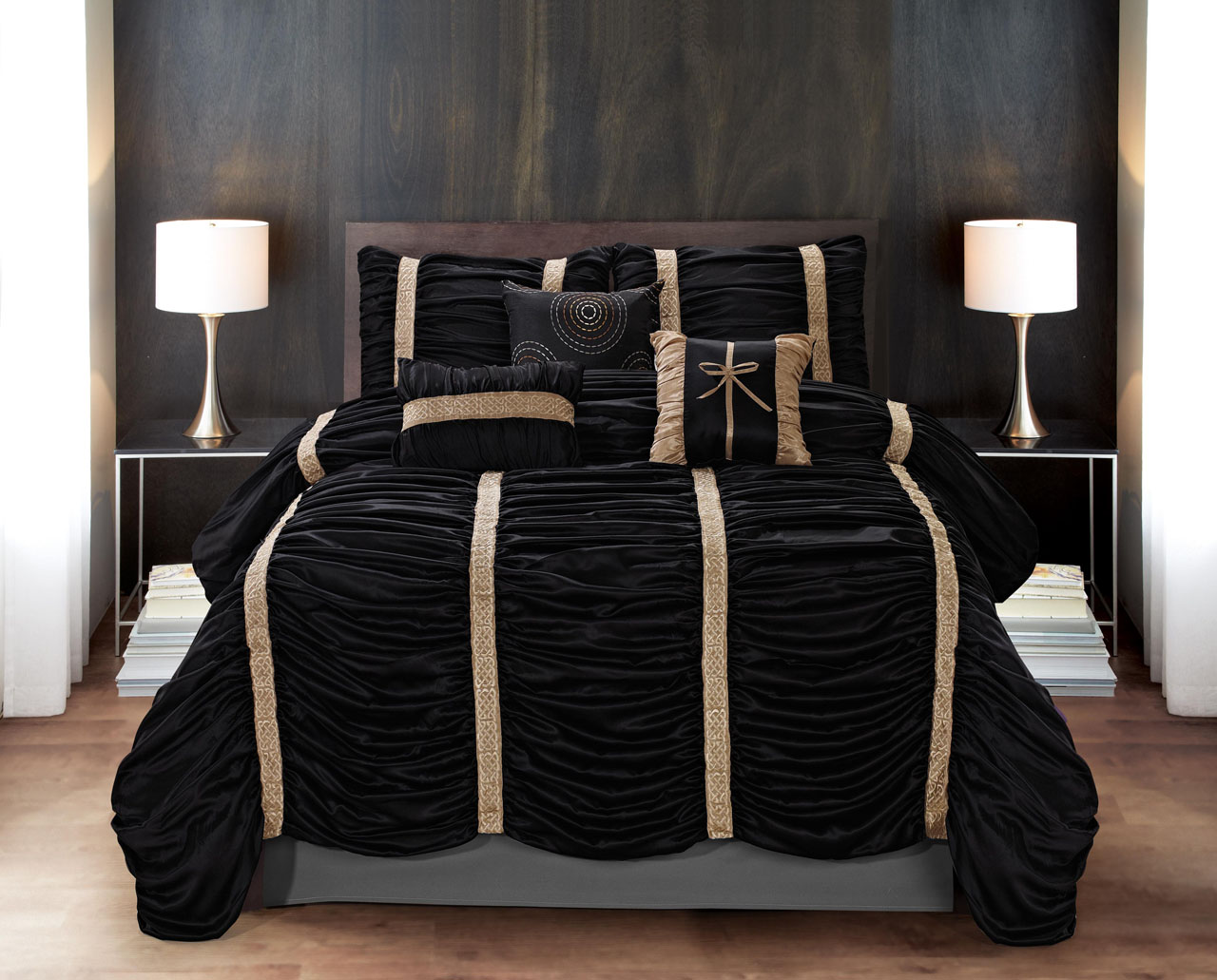 black and gold comforter sets king 7 Piece Baraniece Black/Gold Comforter Set   Walmart.com black and gold comforter sets king