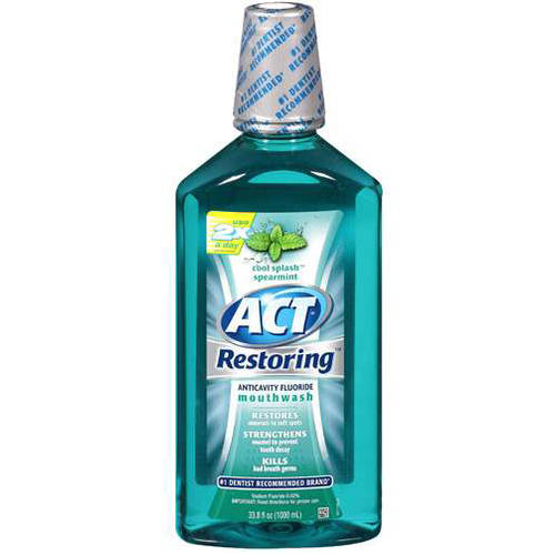ACT Cool Splash Spearmint Restoring Anticavity Fluoride Mouthwash, 33.8 fl oz