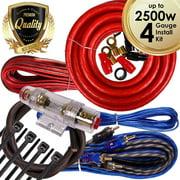Complete 2500W 4 Gauge Car Amplifier Installation Wiring Kit Amp PK3 4 Ga Red