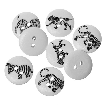 Anime Button (20 Pcs Wood Round Scrapbooking Sewing Buttons Black and White Animal Design 15mm)