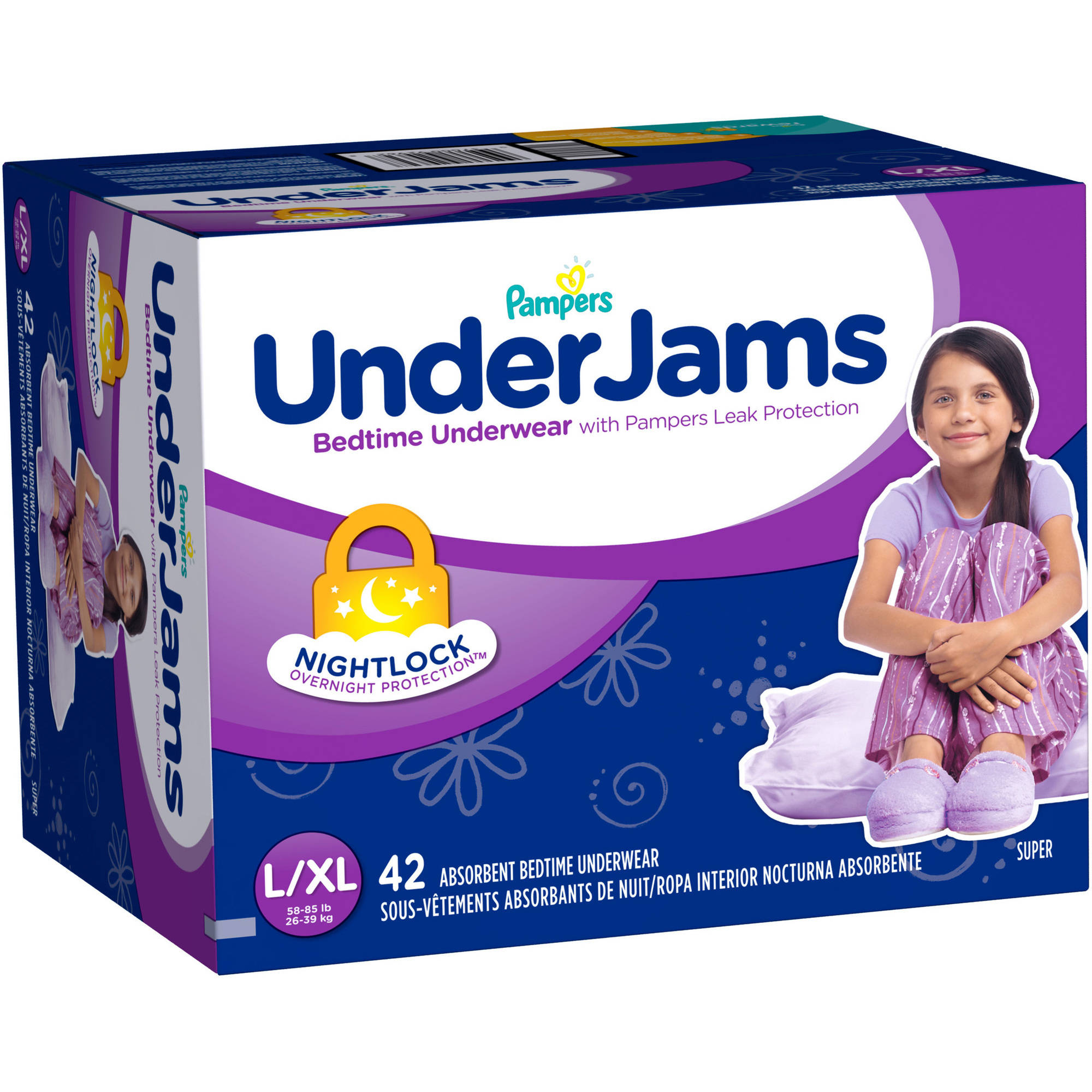 Pampers UnderJams Girls' Bedtime Underwear, Size L/XL  (Choose Pant Count)