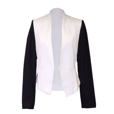 White Tweed (Everly Contrast Heavyweight Black And White Tweed Fabric Blazer With)