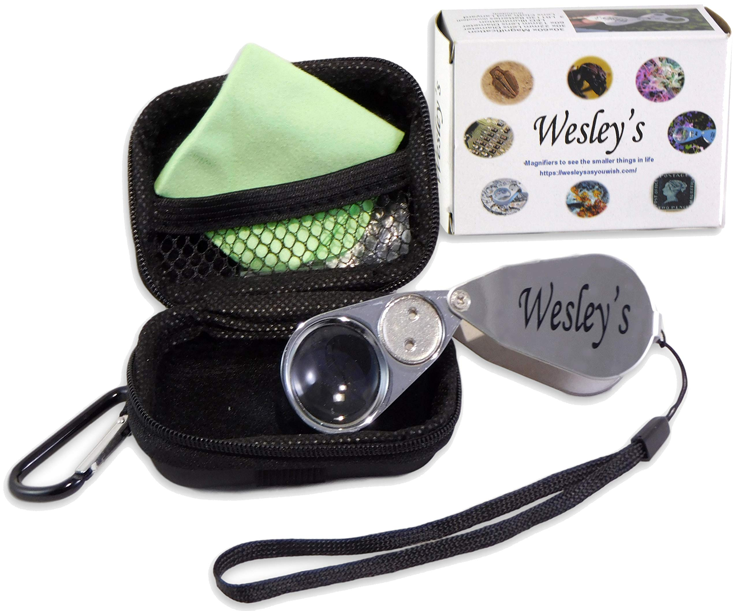 JahyShow 40X Full Metal Illuminated Jewelry Loop Magnifier,Hand Lens Botany,Pocket Folding Magnifying Glass Jewelers Eye Loupe LED and UV Light LED Currency Detecting//Jewlers Identifying Type Lupe