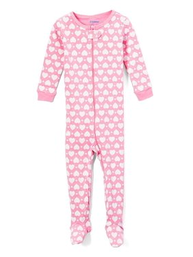 Elowel Baby Girls Footed Heart Pajama Sleeper 100% Cotton Size 6-12 Months Pink