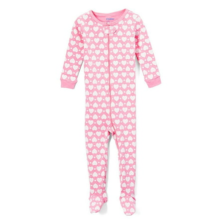 Elowel Baby Girls Footed Heart Pajama Sleeper 100% Cotton Size 6-12 Months Pink Pink Chenille Sleeper