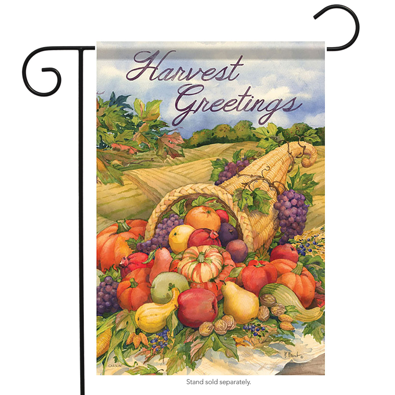 "Harvest Greetings Garden Flag Thanksgiving Cornucopia 13"" x 18"" Carson"