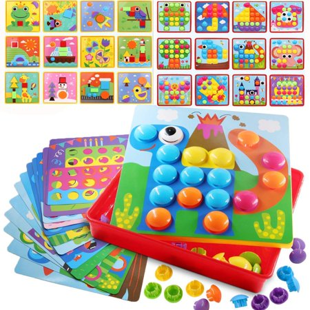 Button Art Toy Color Matching Mosaic Pegboard Early Learning Educational Preschool Games for Kids' Motor Skills (Preschool Educational Toys)