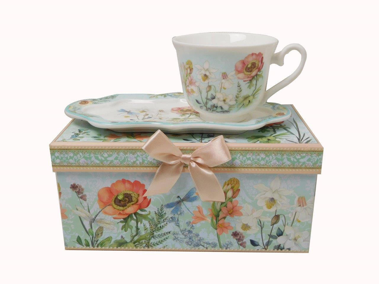 Lightahead New Bone China Unique 8.5oz Tea   Coffee Cup and Snack Saucer Set in a Reusable... by Lightahead®