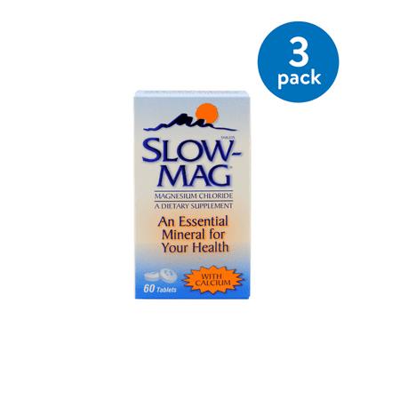 Slow-Mag Magnesium Chloride with Calcium Tablets, 60 ct, (3 Pk) (Magnesium Chloride Tablets)
