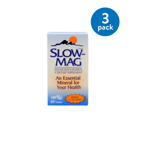 Slow-Mag Magnesium Chloride with Calcium Tablets, 60 ct, (3 Pk)