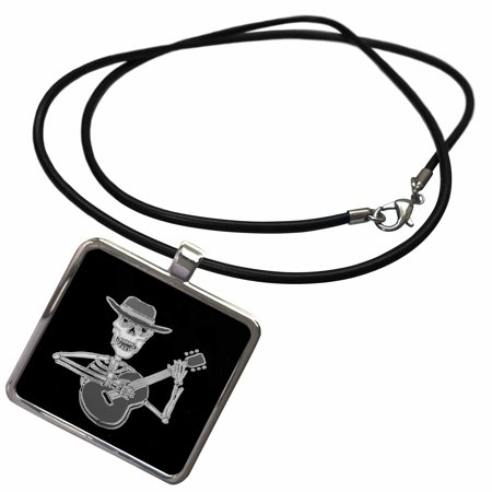 3dRose Funny Artistic Funky Skeleton Playing the Guitar - Necklace with Pendant - Guitar Skeleton