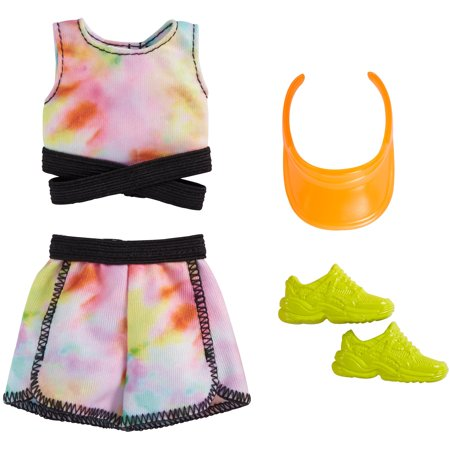 ​Barbie Fashion Pack with Tie-Dye Athletic top & Shorts, Orange Visor & Yellow Sneakers, Doll Clothes for Kids 3 to 8 Years Old