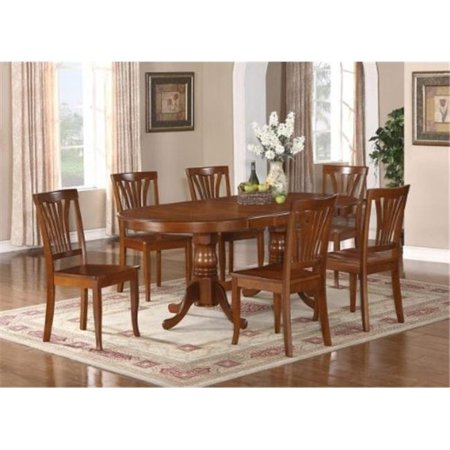 - Wooden Imports Furniture PLPS9-SBR-W 9PC Plainville Table with Double Pedestal &8 Piccasso Wood Seat Chairs in Saddle Brown Color Finish
