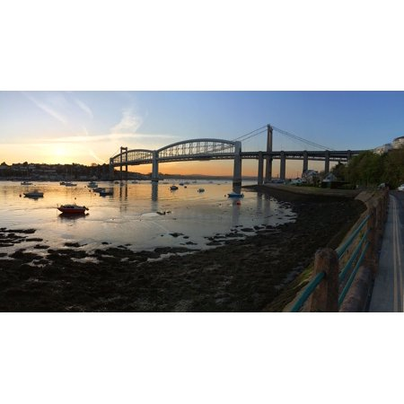 Canvas Print UK Water Bridge Tamar Bridge Plymouth Cornwall Stretched Canvas 10 x