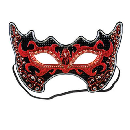 Club Pack of 12 Fiery Red and Black She-Devil Costume Party Face Masks - Black Face Mask Costume