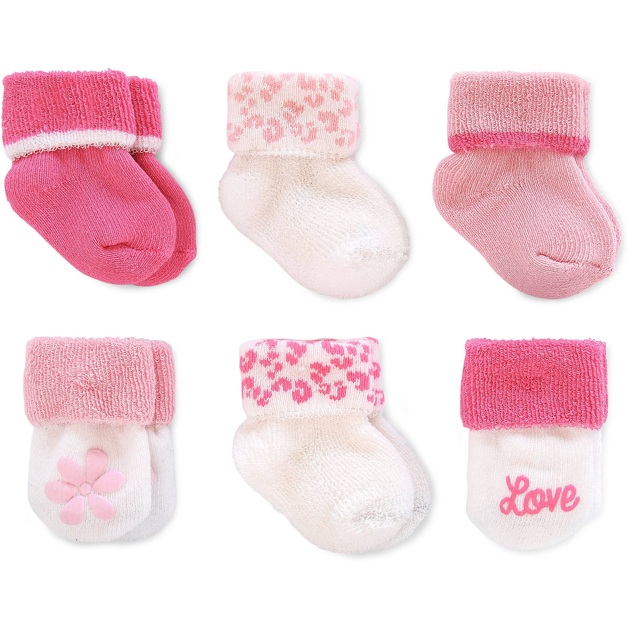 Child of Mine by Carter's Newborn Baby Girl Terry Cuff Socks, 6 Pack