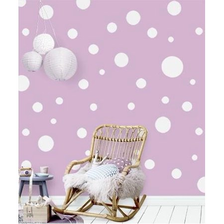 Fun Faces Blue Wall - POLKA DOTS  ~ WALL DECAL, HOME DECOR QTY 55 White