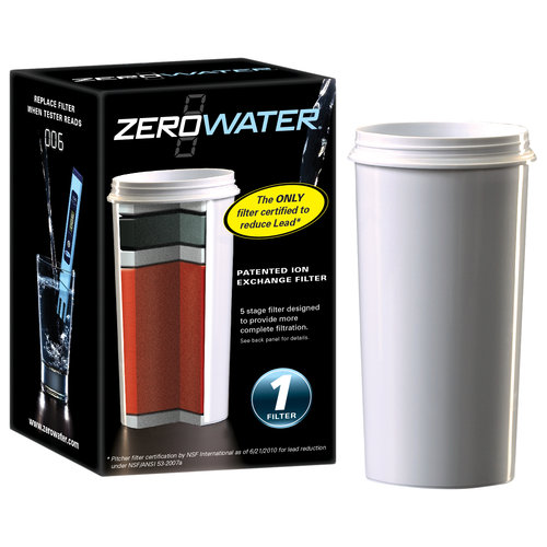 ZeroWater ZR-001-Single Pack of 5 stage Ion Exchange Replacement Filter. Fits all ZeroWater Pitchers and Dispensers