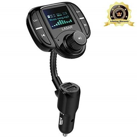 lasar bluetooth fm transmitter,wireless radio adapter hands-free calling  car kit qc3 0 and smart dual usb port w 1 7 display, support usb drive,aux
