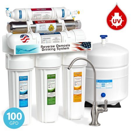 Express Water 6-Stage Reverse Osmosis Drinking Water Filter System with Ultraviolet (UV) Light Sterilizer, 100 GPD, Brushed Nickel Faucet