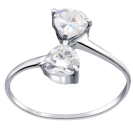 1.4 Ctw Lab Created Heart Cut White Cubic Zirconia Ring, April Birthstone Prong 925 Sterling Silver Ring, Best Gift For