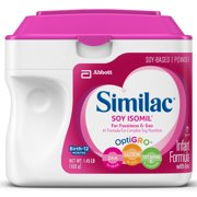 Similac Soy Isomil Baby Formula For Fussiness and Gas, 6 Count Powder, 1.45-lb Tub
