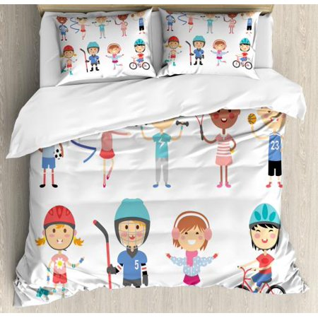 Kids Sports Queen Size Duvet Cover Set, Hockey Player Roller Skating Girl Fitness Gymnastics Game Hobby Baby Cartoon, Decorative 3 Piece Bedding Set with 2 Pillow Shams, Multicolor, by Ambesonne