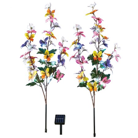 Butterfly Floral Outdoor Solar Lighted Branches Stakes Garden Decoration