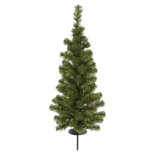 Northlight Seasonal 30838691 Pre-Lit Solar Powered Slim Artificial Stake Christmas Tree - Warm Clear LED Lights