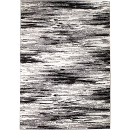 Rio Collection - Gray Black Modern Splash Premium Area Rug by Rug and Decor 2x7 Runner (Modern Collection)