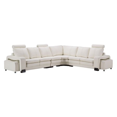 American Eagle Furniture Haverhill 6 Piece Sectional Sofa and Wheeled  Ottomans
