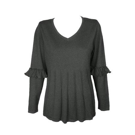 Pleated Empire Sweater - Style & Co Plus Size Black Heather Ruffled-Sleeve Pleated V-Neck Sweater 1X