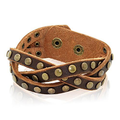 Gioelli Designs Gioelli Brown Leather Round Stud Braided Bracelet
