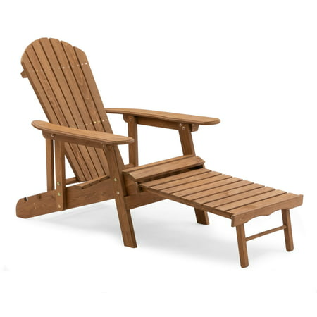 Coral Coast Hubbard Big Daddy Reclining Adirondack Chair with Pull-Out Ottoman - Natural