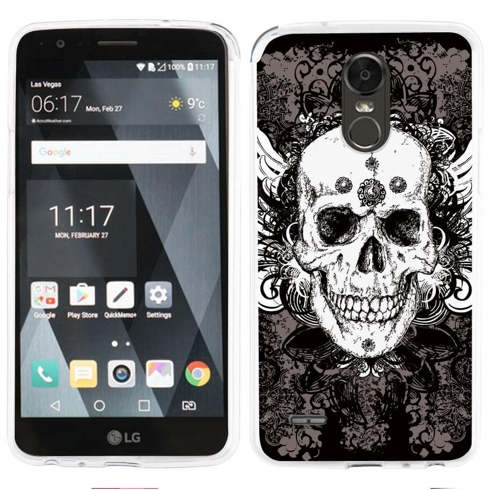 Fit LG Stylo 3 PLUS - OneToughShield ® Slim-Fit Premium TPU Gel Phone Case for LG Stylo 3 PLUS - Grunge Skull